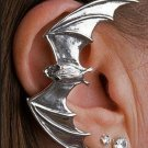 Bat Ear Cuff Silver Detailed Goth Gothic Spooky Decor Vampire Earring Art Earclip Clip Statement