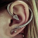 Snake Bite Ear Cuff Wrap Earring Antique Silver Armor Gothic Serpent Temptation Punk Goth