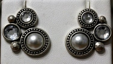 Pearl Style Evening Earrings Beads and Acrylic Crystals Textured Fancy Silver Bridal Wedding Prom
