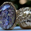 Arty Oval Ring Amethyst Opal Purple Glass Chunky Gold Knuckle Art Vintage Statement Size 5.5