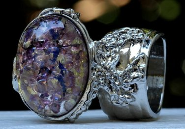 Arty Oval Ring Amethyst Opal Purple Glass Chunky Silver Knuckle Art Vintage Statement Size 8.5