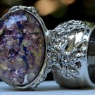 Arty Oval Ring Amethyst Opal Purple Glass Chunky Silver Knuckle Art Vintage Statement Size 10