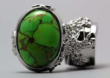 Arty Oval Ring Green Turquoise Neon Bronze Gemstone Silver Chunky Gem Knuckle Art Statement Size 8