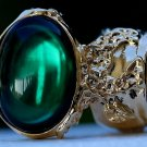 Arty Oval Ring Emerald Green Vintage Glass Gold Chunky Armor Knuckle Art Gift Statement Size 4.5