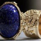 Arty Oval Ring Lapis Deep Blue Vintage Glass Gold Flecks Chunky Knuckle Art Statement Size 8