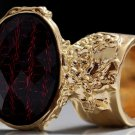 Arty Oval Ring Red Metallic Faceted Black Vintage Gold Chunky Knuckle Art Statement Size 4.5
