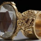 Arty Oval Ring Crystal Glass Faceted Czech Vintage Gold Chunky Knuckle Art Statement Size 10