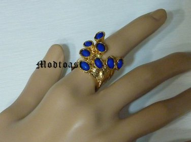 Arty Dots Ring Royal Blue Gold Knuckle Art Chunky Armor Statement Jewelry Avant Garde Size 7