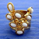 Arty Dots Ring White Gold Knuckle Art Chunky Armor Statement Jewelry Avant Garde Fashion Size 7