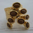 Arty Dots Ring Cocoa Brown Gold Knuckle Art Chunky Armor Statement Jewelry Avant Garde Size 6.5