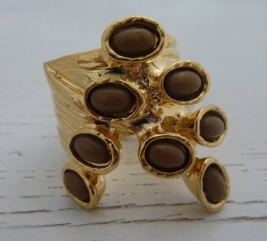 Arty Dots Ring Cocoa Brown Gold Knuckle Art Chunky Armor Statement Jewelry Avant Garde Size 7