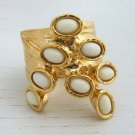 Arty Dots Ring Ivory Gold Knuckle Art Chunky Armor Statement Jewelry Avant Garde Fashion Size 6.5