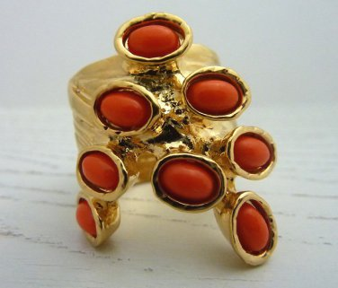 Arty Dots Ring Coral Gold Knuckle Art Chunky Armor Statement Jewelry Avant Garde Fashion Size 6.5