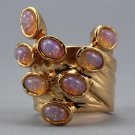 Arty Dots Ring Fire Opal Pink Amber Gold Knuckle Art Statement Jewelry Avant Garde Fashion Size 7