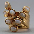 Arty Dots Ring White Fire Opal Gold Knuckle Art Statement Jewelry Avant Garde Fashion Size 6.5