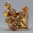 Arty Dots Ring Fire Opal Amber Gold Knuckle Art Statement Jewelry Avant Garde Size 7