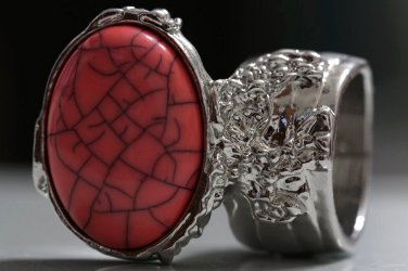 Arty Oval Ring Coral Pink Black Silver Knuckle Art Chunky Artsy Armor Avant Garde Statement Size 5