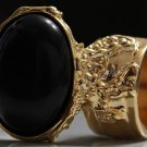 Arty Oval Ring Black Matte Gold Knuckle Art Chunky Artsy Armor Avant Garde Statement Size 4.5