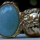 Arty Oval Ring Blue Gold Flecks Chunky Knuckle Art Statement Jewelry Avant Garde Fashion Size 4.5