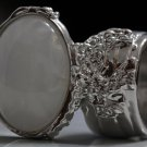 Arty Oval Ring White Gold Flecks Chunky Silver Knuckle Art Statement Jewelry Avant Garde Size 8.5