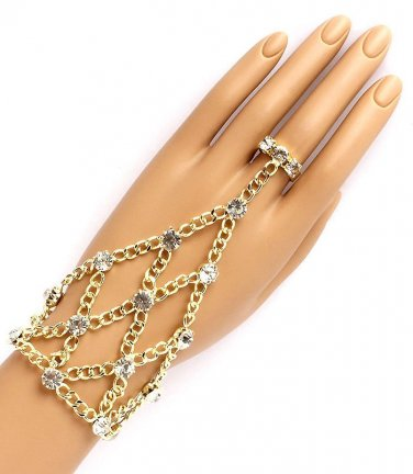 Hand Chain & Ring Combo Gold Crystals Slave Bracelet Body Jewelry Evening Prom Bridal Fashion
