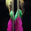 "Feather Earrings 11""+ Drop Rhinestone Chain Indie Boho Bohemian Hippie Gypsy Statement Jewelry"