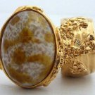 Arty Oval Ring Amber White Vintage Glass Gold Chunky Knuckle Art Statement Avant Garde Size 4.5