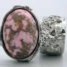 Arty Oval Ring Pink White Mottled Silver Chunky Knuckle Art Statement Jewelry Avant Garde Size 8.5