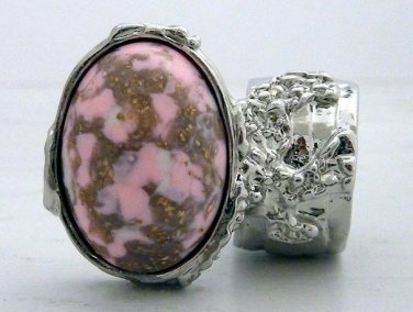 Arty Oval Ring Pink White Mottled Silver Chunky Knuckle Art Statement Jewelry Avant Garde Size 9