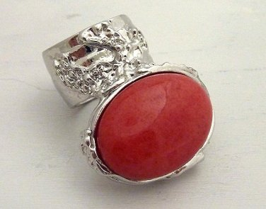Arty Oval Ring Coral Vintage Glass Silver Chunky Knuckle Art Statement Jewelry Avant Garde Size 8.5