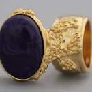 Arty Oval Ring Dark Purple Marble Vintage Gold Knuckle Art Armor Avant Garde Statement Size 4.5
