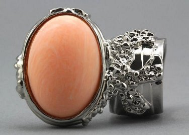 Arty Oval Ring Peach Matte Silver Vintage Knuckle Art Armor Artsy Avant Garde Statement Size 8