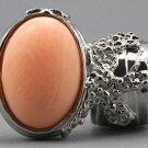 Arty Oval Ring Peach Matte Silver Vintage Knuckle Art Armor Artsy Avant Garde Statement Size 9