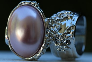 Arty Oval Ring Rose Pearl Vintage Silver Chunky Armor Knuckle Art Fashion Statement Jewelry Size 8.5