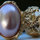 Arty Oval Ring Rose Pearl Vintage Gold Chunky Armor Knuckle Art Fashion Statement Jewelry Size 6