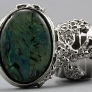 Arty Oval Ring Paua Shell Silver Chunky Armor Knuckle Art Statement Avant Garde Jewelry Size 10
