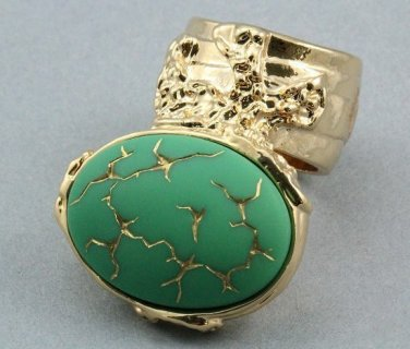 Arty Oval Ring Green Gold Abstract Vintage Glass Knuckle Art Designer Statement Jewelry Size 4.5