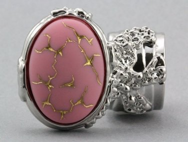 Arty Oval Ring Pink Gold Abstract Vintage Glass Silver Knuckle Art Deco Statement Jewelry Size 8