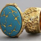 Arty Oval Ring Blue Gold Abstract Designer Vintage Glass Chunky Armor Knuckle Art Statement Size 4.5