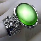 Arty Oval Ring Peridot Green Vintage Glass Silver Chunky Knuckle Art Statement Jewelry Size 8.5