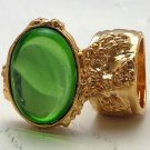 Arty Oval Ring Peridot Green Vintage Glass Gold Chunky Knuckle Art Statement Jewelry Size 10