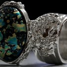 Arty Oval Ring Blue Black Metallic Chunky Silver Deco Knuckle Art Statement Jewelry Size 5