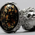 Arty Oval Ring Orange Black Metallic Chunky Silver Knuckle Art Statement Abstract Jewelry Size 8.5