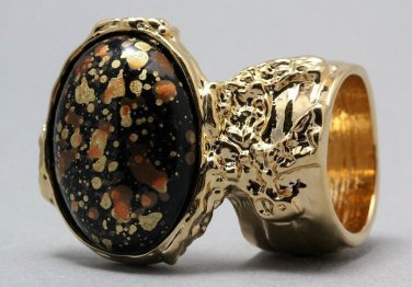 Arty Oval Ring Orange Black Metallic Chunky Gold Knuckle Art Statement Abstract Jewelry Size 8.5