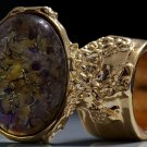 Arty Oval Ring Topaz Amethyst Vintage Glass Gold Avant Garde Chunky Knuckle Art Statement Size 4.5