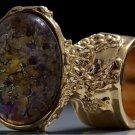 Arty Oval Ring Topaz Amethyst Vintage Glass Gold Avant Garde Chunky Knuckle Art Statement Size 5.5