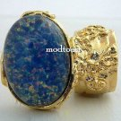 Arty Oval Ring Blue Opal Vintage Glass Gold Chunky Armor Knuckle Art Jewelry Statement Size 4.5