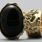 Arty Oval Ring Black Gold Vintage Chunky Knuckle Art Statement Deco Avant Garde Jewelry Size 5.5