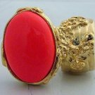 Arty Oval Ring Neon Coral Gold Hand Painted Chunky Armor Knuckle Art Statement Jewelry Size 8.5