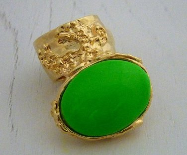 Arty Oval Ring Neon Green Gold Hand Painted Chunky Armor Knuckle Art Statement Jewelry Size 4.5